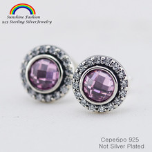 100% 925 Sterling Silver Jewelry Stud Earrings with Purple Crystals For Women Match European Brand Fine Jewelry Diy making(China)
