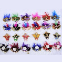 Small Feather Venetian Mask Ornament Itly Mask Fridge Magnet Tourist Souvenirs Home Decor Collection Crafts 30pcs/lot DEC210(China)