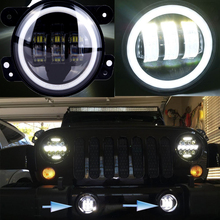 4 Inch Round Led Fog Light Headlight 30W Projector lens With Halo DRL Lamp For Offroad Jeep Wrangler Jk Dodge Harley Daymaker(China)