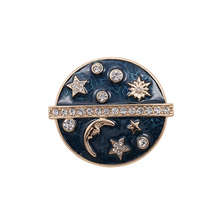 2017 new arrival fashion design enamel crystal the galaxy star moon costume brooch pins jewelry accessories for women