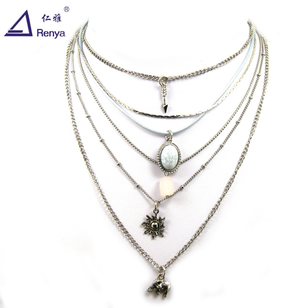 Renya New Style Vintage Metal Alloy Long Chain Silver Plated Fatima Hamsa Hand Shape Pendant Necklace for Women Lady Jewelry