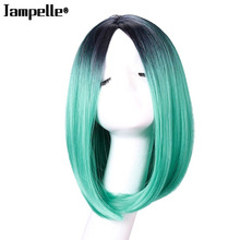 Natural Dreamily Straight Mix-color hair Short Hair Bobo Head High Temperature Fiber Synthetic Hair for Cosplay Halloween Party(China)