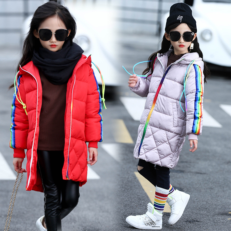 Girls winter jacket coat mix color fashion cute lovely red pink black long outerwear size 5 6 7 8 9 10 11 12 13 14 years child<br>