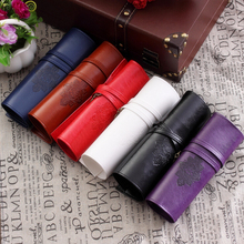 Vintage Leather Twilight Saga Pencil Case Organizador Makeup Cosmetic Roll Money Purse Organizer Storage Bag Free shipping 3010