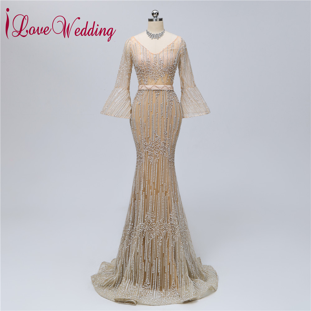 New Arrival 2019 Sexy V Neck Heavy Major Lace Pearl Beaded Custom made Long Sleeves Mermaid Formal Evening Dresses Long(China)
