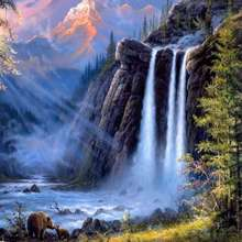 DIY Painting Landscape Painting By Numbers Picture Wall Waterfalls Forest Trees()