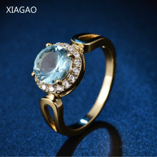 XIAGAO Fashion Size 8 Jordans Women Halo Big Finger Band Gold-color Ring Round Cut Crystal CZ Zircon Wedding Jewelry(China)
