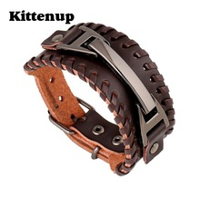 "Kittenup New Fashion Cuff Leather "" H "" Wrap Wide Bracelets Wristband Cool Men Punk Rock Black Brown Jewelry"