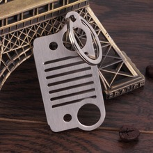 1 pc Portable Outdoor tool Stainless Steel Unique Design Jeep Grill Key Chain KeyChain Key Ring CJ JK TJ YJ XJ Silver(China)