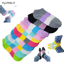 Warm comfortable cotton bamboo fiber girl women's socks ankle low female invisible  color girl boy hosier1pair=2pcs WS03-1