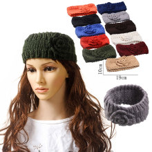 Female Solid Knitted Fabric Turban Headband Winter Wool Warm Hair Accessories for Women Crochet Head Wrap Girls Stretch Headwear