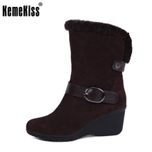 women round toe wedges half short boot winter warm thickened fur snow boot woman sexy fashion footwear shoes P21373 size 34-43