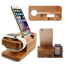 Watch Stand For iWatch Apply Iphone Charging Holder Stand Natural Bamboo Wood Charge Station Charging Dock Cradle Stand Holders(China)
