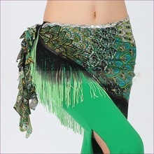 New style Belly dance costume ice silk tassel Peacock indian belly dance hip scarf for women belly dancing belt 4kinds of colors
