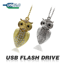 Diamond Crystal usb flash drive 64gb diamond owl Genuine Capacity Pen Drive32gb for Gift Jewelry U disk metal pendrive 16gb 8gb
