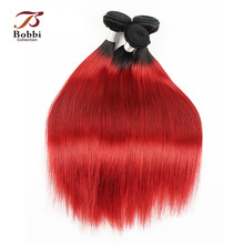 T 1B Red Ombre Brazilian Hair Weave 1 Bundle Silky Straight Dark Root Red Fashion Color Human Hair Extension Bobbi Collection(China)