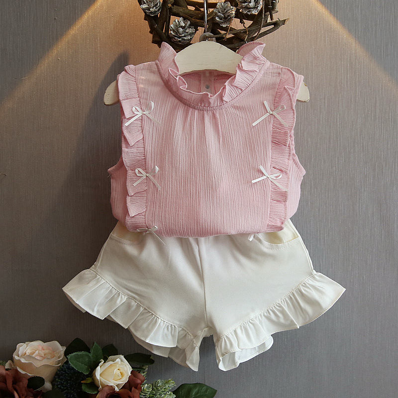 2017 summer new girls clothes flounced vest+pants 2pcs baby girls clothes set solid color infant girls outfits for party clothes<br><br>Aliexpress