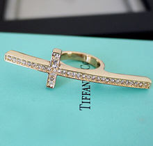 JZ037 2017 Korean version of the retro punk texture imitation gold inlaid cross ring influx of people