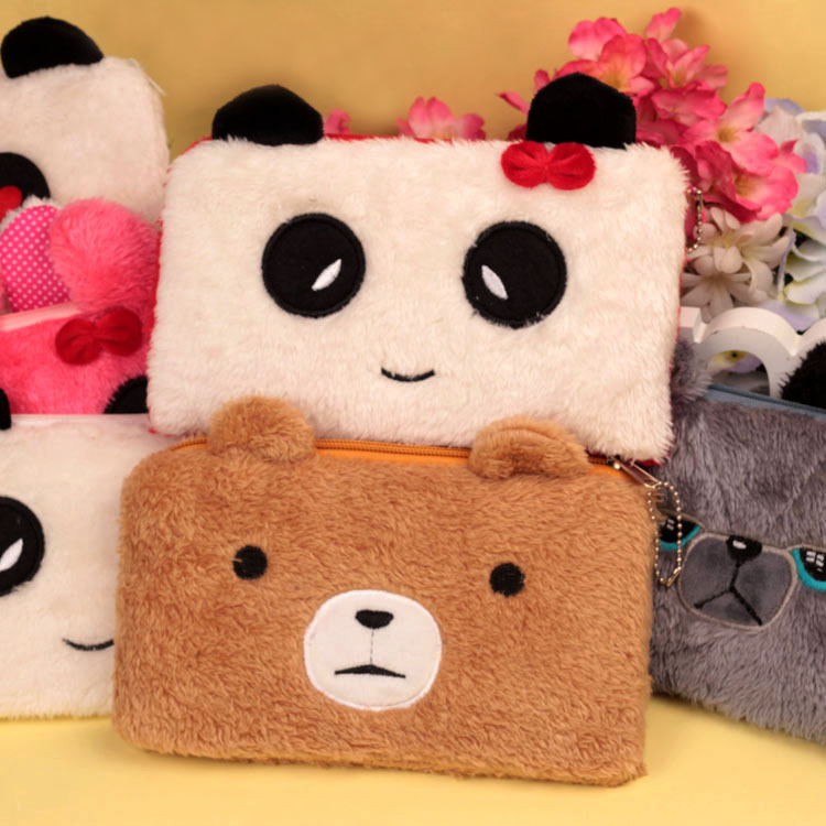 Bear pencil cases for girls Kawaii Plush panda pen bag stationery pouch kids gift school office supply Estuche 5
