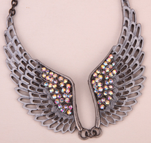 Angel wing bib necklace adjustable women biker jewelry gifts antique silver color NM06 wholesale dropship(China)