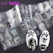Artlalic 100*4cm Punk Style Zombie Design Nail Foil Stickers Glue Transfer King Skull Head Cute Nail Design Halloween Decoration