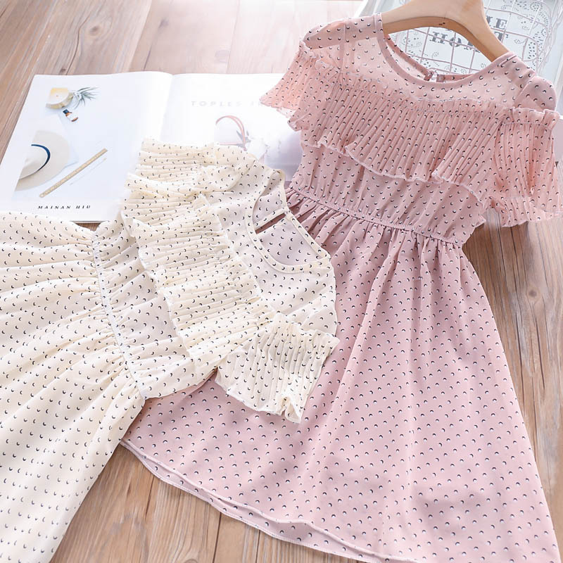 Princess Print Dot Candy Pink Beige Color Girls Clothes Sweet Kids Ruffles Summer Party Ins Fashion Chiffon Dresses