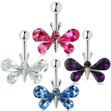 Charming Body Piercing Jewelry Medical Steel Umbilical Butterfly Shaped Nail Belly Button Ring 4 Colors Body-0117(China)