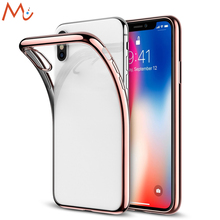 For iPhone X Case Crystal Transparent Clear Flexible Soft Gel TPU Cover Shell Skin Support Wireless Charging Slim Fit Rose Gold(China)