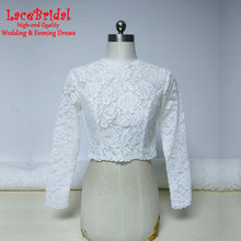 Real Elegant White Long Sleeve Lace Wedding Coats Boleros 2017 with Buttons Bridal Shawls Jackets Capes Wedding Accessories B250