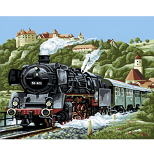 New train Landscape picture By Numbers DIY Hand Painted Oil Painting By Numbers On Canvas Wall Pictures For Living Room