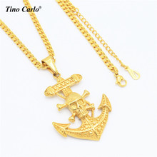 Tino Carlo New Navy Jewelry Stainless Steel Gold Color Skeleton Anchor Necklace R&B Necklace Sea Vacation Men Necklace
