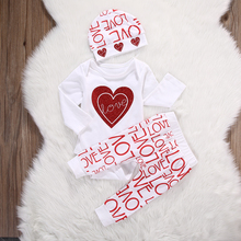 2017 New Newborn Baby Girl Love Heart Romper+Pants hat 3pcs Outfits Set