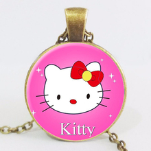 Vintage Cute Hello Kitty Necklace for Girls Choke Pendant  Personality Pendnat Art Picture  For Women Jewelry LY77
