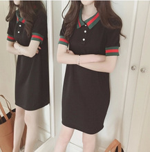 summer Fashion women sport dress cotton short sleeves woman POLO shirt dress Women stripe leisure POLO shirts S-4XL