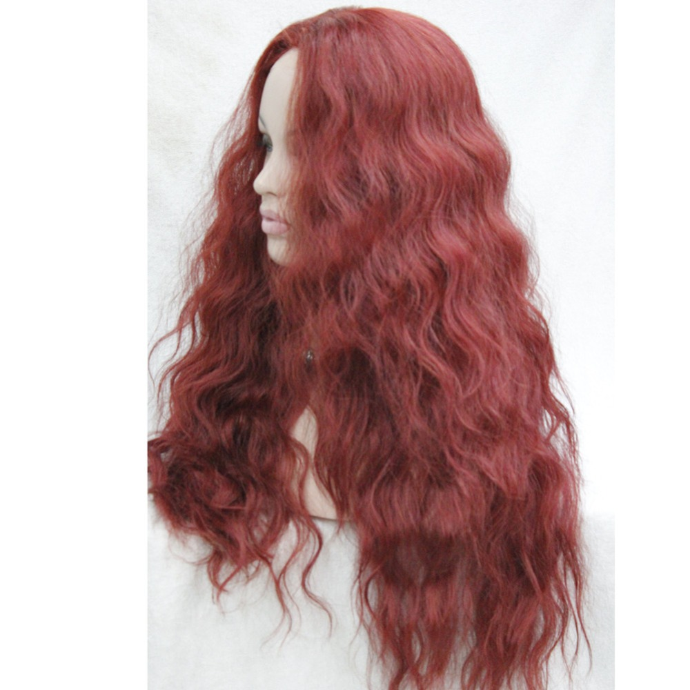 HHG-9211 350E High Quality Heat Resistant Dark Red Wavy Lace Front Long Wig (3)