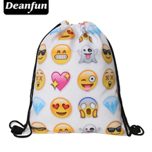 Deanfun Emoji Backpacks for Girls 3D Printed Food Fashion Drawstring Bags SKD 51