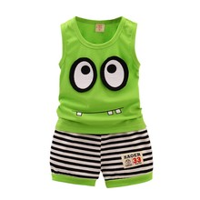 Hot Sales Summer Kid Clothes Set Baby Boys Girls Casual Cotton Cartoon Sleeveless Ves t+ Stripe Shorts Children Sport Suit Set