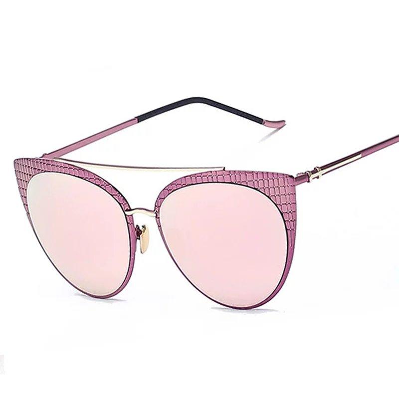 Retro Cat Eye Sunglasses Brand Designer Fashion Women Checks Decorative Pattern Coating Sun Glasses Double Bridges UV400<br><br>Aliexpress