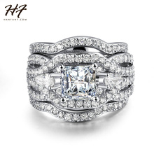 Luxury Fashion Silver Color 3 Pieces Ring Sets AAA+ CZ Cubic Zirconia Engagement Rings For Women Wholesale R643