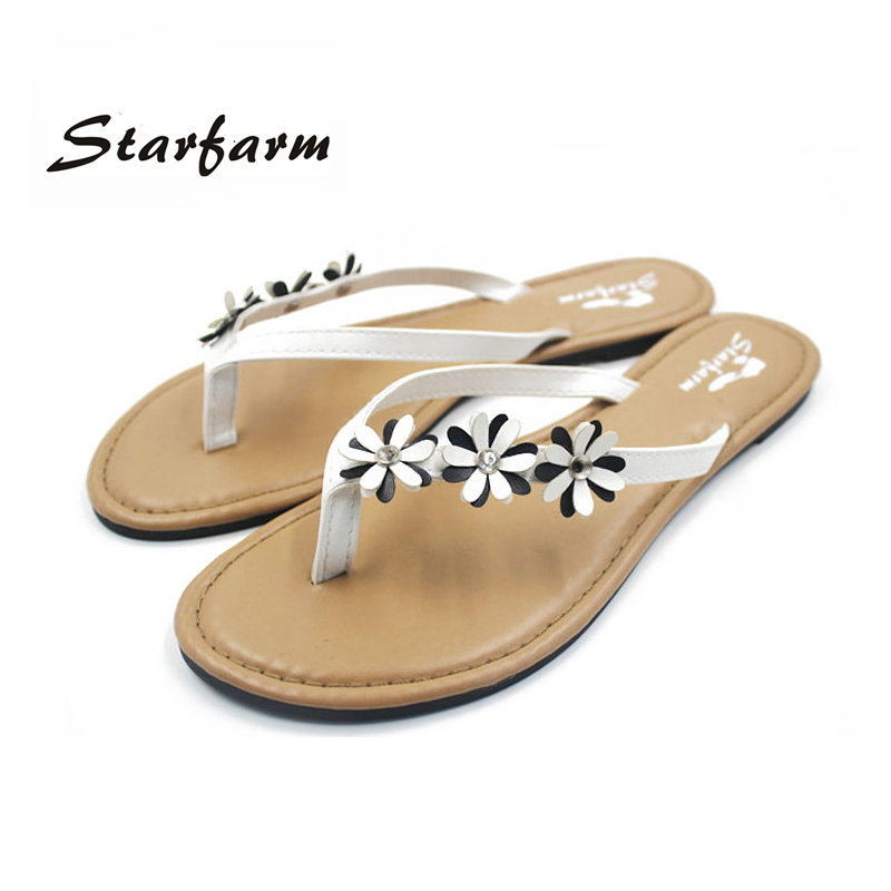 2017 Shoes women black white Flip Flops slippers woman sandals with PU flowers on strap sandalia feminina dames schoenen<br><br>Aliexpress