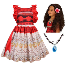 New Vaiana Necklace Dress girls Moana Princess Dresses Kids Party Cosplay Costumes Wig Children Clothing Moana clothes