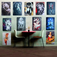 Shabby Chic Sexy Lady Vintage Metal Signs Home Decor Retro Tin Sign Pub Bar Vintage Decorative Plates Metal Wall Art Poster A507(China)