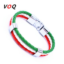 Length 21cm Unisex Italy France Russia National Flag Rope Surfer Leather Bracelet Bangle Wristband Friendship Gift