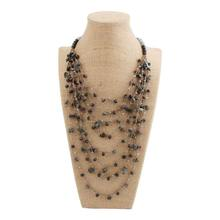 beadsland multilayer handiwork crochet nature stone rope chain long necklace for ethnic vintage fashionable women