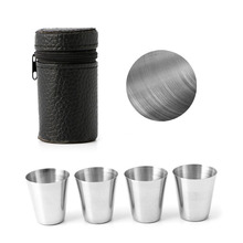 4Pcs Outdoor Camping Stainless Steel Mini Cup Mug Drinking Coffee Beer With Case(China)