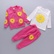 free shipping 2017 spring autumn baby girls clothing sets 3pieces suit girls sport sunflower coat+white Tshirt +long pants B0051