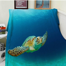 Blanket Comfort Warmth Soft Plush Easy Care Machine Wash Funny Sea Turtle Ocean Animal Sofa Bed Throw Kid Adult Warm Blanket