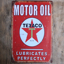Motor Oil Texaco Lubricates Perfectly Vintage Metal Sign 20*30 Motor Tin Sign Retro Metal Plate for motor garage pub decoration(China)