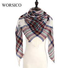 Za Winter Scarf 2017 Brand Tartan Cashmere Scarf Women Wool Plaid Blanket Scarf Pashmina Wrap Shawls and Scarves Drop Shipping