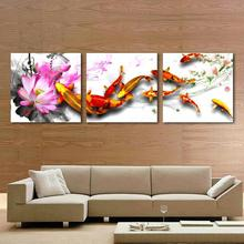 3P Hot Sell Modern Home Decorative Art Picture Paint on Canvas Prints The blooming of the pink and charming lotus, fish swimming